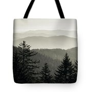 Panoramic View Of Trees With A Mountain Tote Bag