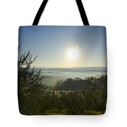 Panoramic View Over The Foggy Field Tote Bag