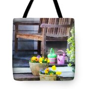 Pansies And Watering Cans On Steps Tote Bag