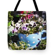 Cup Of Pansies Tote Bag