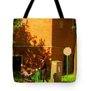 Papa And The Little Ones Sunday Afternoon Stroll On The Avenues Montreal City Scene Carole Spandau Tote Bag