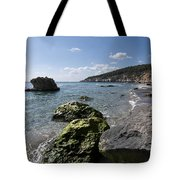 Binigaus Beach In South Coast Of Minorca Island Europe - Paradise Is Not Far Away Tote Bag