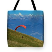 Paragliding In The Mountains Tote Bag