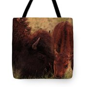 Parent With Newborn Calf Bison Tote Bag