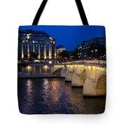 Paris Blue Hour - Pont Neuf Bridge And La Samaritaine Tote Bag