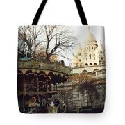 Paris Carousel Merry Go Round Montmartre - Carousel At Sacre Coeur Cathedral  Tote Bag