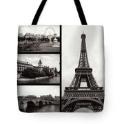 Paris Collage - Black And White Tote Bag