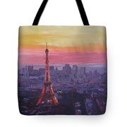 Paris Eiffel Tower At Dusk Tote Bag