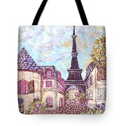 Paris Eiffel Tower Skyline Inspired Pointillist Landscape Tote Bag