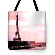 Paris Eiffel Tower Pink - Dreamy Pink Eiffel Tower With Hot Air Balloon Tote Bag