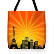Paris France Downtown City Skyline Tote Bag