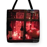 Paris Holiday Christmas Wine Window Display - Paris Red Holiday Wine Bottles Window Display  Tote Bag by Kathy Fornal