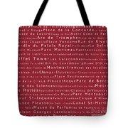 Paris In Words Red Tote Bag