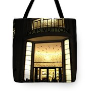 Paris Louis Vuitton Boutique Store Front - Paris Night Photo Louis Vuitton - Champs Elysees  Tote Bag