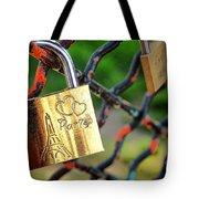 Paris Love Lock Tote Bag