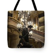 Paris Opera House Grand Staircase And Chandeliers - Paris Opera Garnier Statues And Architecture  Tote Bag