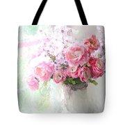 Paris Peonies Roses Shabby Chic Art - Romantic Paris Peonies And Roses Impressionistic Floral Art Tote Bag