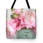 Paris Peonies Shabby Chic Dreamy Pink Peonies Romantic Cottage Chic Paris Peonies Floral Art Tote Bag