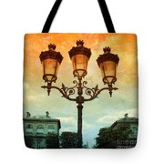 Paris Street Lamps With Textures And Colors Tote Bag