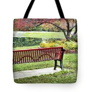 Park Bench By The Pond Tote Bag