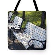 Park Benches At Portland Waterfront Park Tote Bag