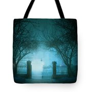 Park Gates At Night In Fog Tote Bag