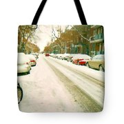 Parked Cars Snowed In Cold December Day Verdun Painting Quebec Winter Scenes Carole Spandau Art Tote Bag