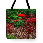 Parked Red Bicycle Tote Bag