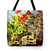 Parked School Buses Tote Bag