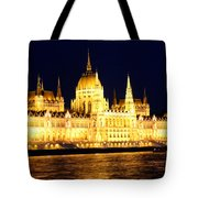 Parliament Building At Night In Budapest Tote Bag