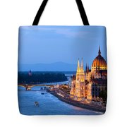 Parliament Building In Budapest At Evening Tote Bag