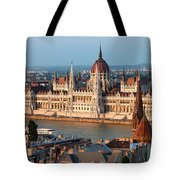Parliament Building In Budapest At Sunset Tote Bag