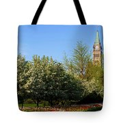 Parliament Building Seen From A Garden Tote Bag