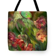 Parrot In Parrot Tulips Tote Bag