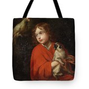 Parrot Watching A Boy Holding A Monkey Tote Bag