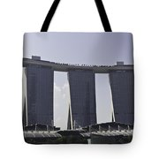 Partial View Of The Artscience Museum And The Marina Bay Sands Tote Bag