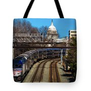Passenger Metro Train With Us Capitol Tote Bag
