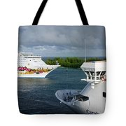 Passing Cruise Ships Tote Bag