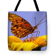 Passion Butterfly On The Mexican Sunflower Tote Bag