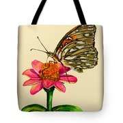 Passion Butterfly On Zinnia Tote Bag