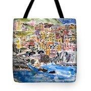 Pastel Patchwork Village Tote Bag