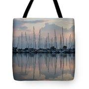 Pastel Sailboats Reflections At Dusk Tote Bag