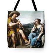 Pastoral Scene With A Shepherd Family Against A Countryside Background Tote Bag