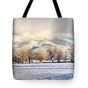 Pasture Land Covered In Snow With Taos Tote Bag