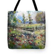 Pasture With Fence Tote Bag