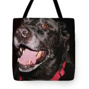 Patchwork Black Lab Closeup Tote Bag