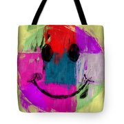 Patchwork Smiley Face Tote Bag