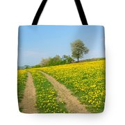 Path In Dandelion Meadow  Tote Bag