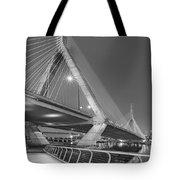 Path To The Leonard P. Zakim Bridge Bw Tote Bag