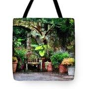 Patio Garden In The Rain Tote Bag by Susan Savad